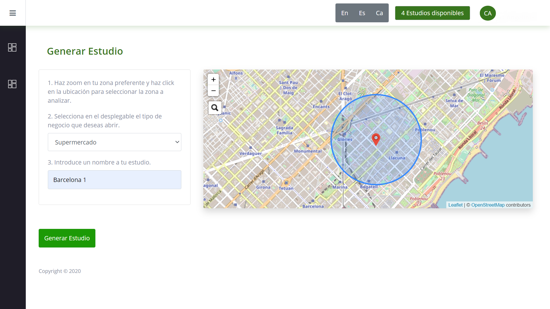Mapa de ubicación de empresa en Barcelona